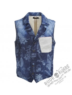 Allover Tatoo Vest Allover Indigo
