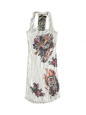 CALAVERA TATOO DRESS WHITE