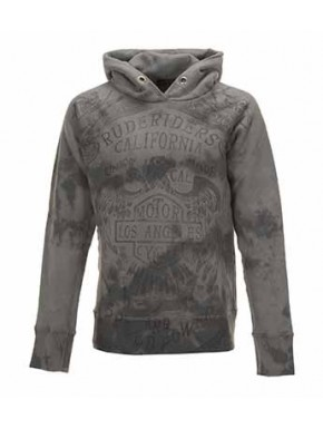 HOODED R. R. UNION CUSTOM SWEATSHIRT GREY